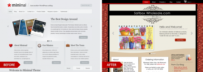 Minimal by Elegant Themes, modified for the website, Saltbox Wholesale