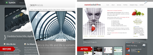 Lumin and Deep Focus by Elegant Themes, modified for the website, Sweet Solutions