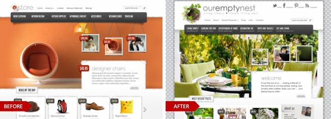 eStore by Elegant Themes, modified for the website, Our Empty Nest
